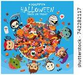 vintage halloween poster design ... | Shutterstock .eps vector #742282117