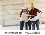 two female construction... | Shutterstock . vector #742282801