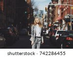 woman in grey suit poses on the ... | Shutterstock . vector #742286455