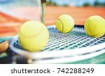 tennis game. tennis ball with... | Shutterstock . vector #742288249