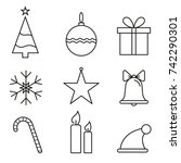 line icons. christmas set of... | Shutterstock .eps vector #742290301