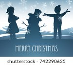 a christmas winter scene with a ... | Shutterstock .eps vector #742290625