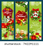 merry christmas holiday... | Shutterstock .eps vector #742291111