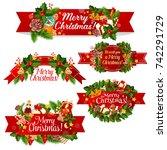 christmas wreath ribbon banner... | Shutterstock .eps vector #742291729