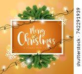 merry christmas illustration... | Shutterstock . vector #742291939