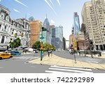 philadelphia. pennsylvania. usa.... | Shutterstock .eps vector #742292989