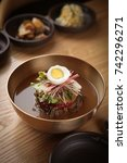 buckwheat cold noodles on the... | Shutterstock . vector #742296271