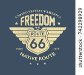 the great american road   tee... | Shutterstock .eps vector #742298929