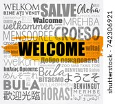 welcome word cloud in different ... | Shutterstock .eps vector #742306921