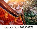 japan style shrine red rood... | Shutterstock . vector #742308271