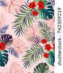 seamless tropical vector... | Shutterstock .eps vector #742309219