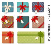 present isolated. gift wrapping.... | Shutterstock .eps vector #742312045