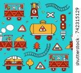 child railway pattern. | Shutterstock .eps vector #742315129