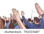 illustration of protesting... | Shutterstock .eps vector #742315687