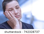 middle aged woman nearly... | Shutterstock . vector #742328737