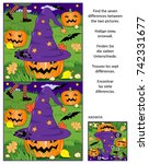 halloween themed visual puzzle  ... | Shutterstock .eps vector #742331677