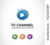 tv channel logo template. | Shutterstock .eps vector #742332589