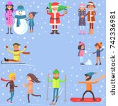 i like winter poster with... | Shutterstock . vector #742336981