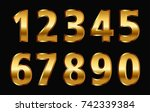 gold numbers set.vector golden... | Shutterstock .eps vector #742339384