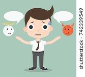 shoulder devil and angel | Shutterstock .eps vector #742339549