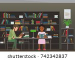 people reading textbooks in... | Shutterstock . vector #742342837