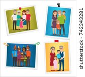 happy family pinned portraits... | Shutterstock . vector #742343281