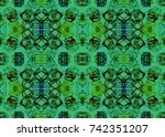 ethnic pattern. watercolor... | Shutterstock . vector #742351207