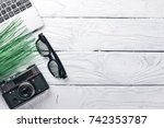 office work space with camera ... | Shutterstock . vector #742353787