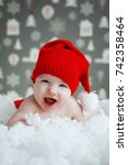 beautiful funny baby in a...   Shutterstock . vector #742358464