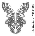 neckline embroidery fashion | Shutterstock .eps vector #74236573