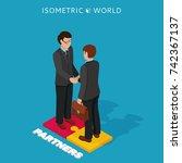 businessmen shake hands...   Shutterstock . vector #742367137