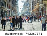 istanbul  turkey  crowds of... | Shutterstock . vector #742367971