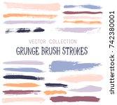 hipster paint brush strokes... | Shutterstock .eps vector #742380001