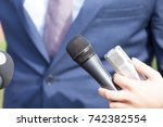 media interview with business... | Shutterstock . vector #742382554