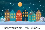 winter background with old town ... | Shutterstock .eps vector #742385287