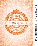 genuine quality abstract emblem ... | Shutterstock .eps vector #742386241
