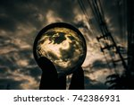 crystal ball display the...   Shutterstock . vector #742386931
