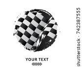 waving checkered racing flag ... | Shutterstock .eps vector #742387555