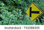 Small photo of A road junction sign. T-Junction sign