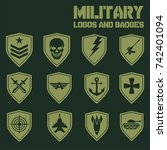 set of military and armed... | Shutterstock .eps vector #742401094