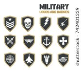 military army like badges logos ... | Shutterstock .eps vector #742401229