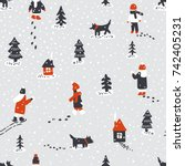 hand drawn vector fun winter... | Shutterstock .eps vector #742405231