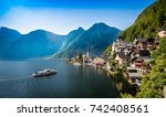 lakeside village at morning... | Shutterstock . vector #742408561