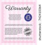 pink retro warranty template.... | Shutterstock .eps vector #742410364