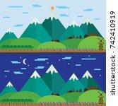 hill mountain village forest... | Shutterstock .eps vector #742410919