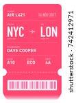 e ticket or boarding pass card... | Shutterstock .eps vector #742412971