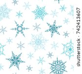 seamless pattern with blue... | Shutterstock .eps vector #742413607