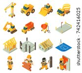 construction building icons set.... | Shutterstock .eps vector #742416025