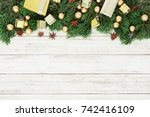christmas decoration on the... | Shutterstock . vector #742416109