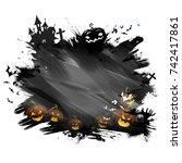 illustration of happy halloween ... | Shutterstock .eps vector #742417861